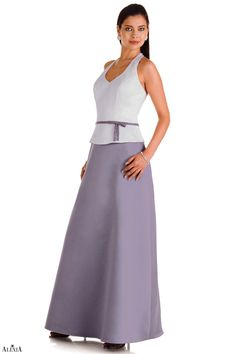 Matte satin A-line halter bridesmaids gown with beaded band and bow at the waist. This gown can be solid or is also available in two-tone.