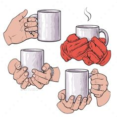 dc82c2a8cbd Set of well groomed female hands holding a cup with tea or coffee