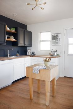 Black upper cabinets with butcher block counters