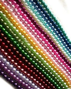 Luxury  Custom 4mm of Approx 500 Individual Loose Tiny Size Round Faux Pearl Beads Made of Genuine Glass w Natural Gloss Assorted Rainbow Multiple Colors Green Pink Purple Yellow  Blue * Check this awesome product by going to the link at the image.
