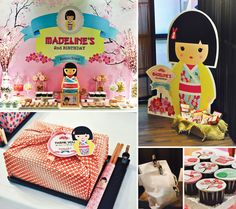 There are so many playful decorations and tasty treats in this Cheerful Japanese Kimmidoll Themed Party!