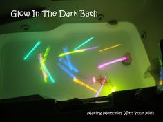 When I saw this idea over on You'll Thank Me One Day I knew I was going to try this for my kids. I mean seriously… how cool is this!  I went to the Dollar Store and spent $6 on 6 packages of glow sticks. I went upstairs and filled the bath without …