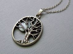 Silver Tree And Moon Necklace Charm Necklace door pinkingedgedesigns, $24.00