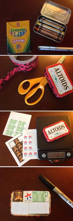 Repurposing old crayons in an Altoids tin for a tiny care package. Fill, seal (I love funky duct tape), weigh, add stamps, address and send. If it's under 13 ounces you can send it through the USPS.
