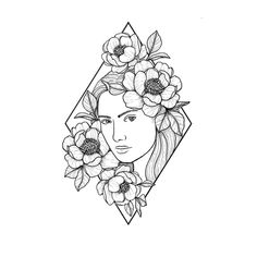Practising more lady faces and flowers #tattoo