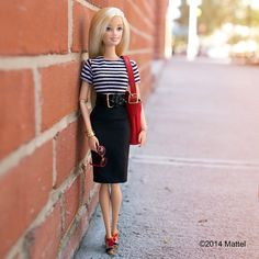 Black Pencil Skirt with Striped Rop