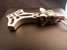 Thor's Hammer with Odin's Wolf Pendant by CelticVikingJewelry, $225.00