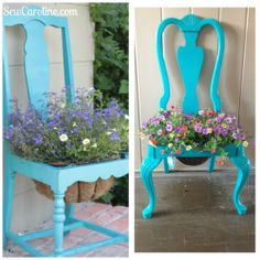 My completed planter chair! This was EASY and fun! I saw the www.sewcaroline.com version on pinterest. i found the chair with the seat already popped out being thrown away in my neighborhood. The color was left over paint from a bedroom remodel, and I sealed it with a shellac finisher. I paid for was the plant and hooks to hold up the planter ($30). It took about an hour to finish the whole project. It looks adorable outside of my apartment and if I ever get tired of the plant I can add a…