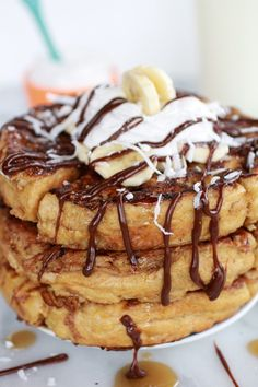 caramelized coconut banana bread waffle french toast |