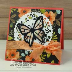 Stampin' Up! Butterfly cards featuring Move Me thinlits set, A Whole Lot of Lovely and Delightful Daisy paper. Make your own doily using the Window box and Layering Circle framelits! Cards by Patty Bennett