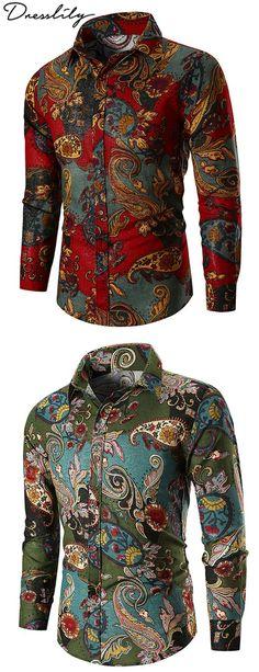 YYG Mens Regular Fit Lapel Collar Floral Long Sleeve Formal Button Down Dress Work Shirt