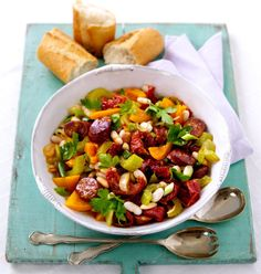 Chorizo and Bean Salad: http://www.goodtoknow.co.uk/recipes/474160/Spanish-sausage-and-bean-salad