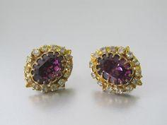 1950s Miriam Haskell Rhinestone Cluster Earrings  by mysterymister