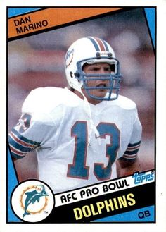 d93d6924385 Dan Marino 1984 Topps #123 Nfl Miami Dolphins, Dolphins Cheerleaders,  Football Trading Cards