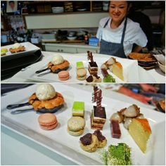 Always room for dessert platters!! Love variety. Rhubarb frangipan cake baked in skillet with ice cream, Japanese cheesecake souffle, macarons, chocolate, salted caramel and hazelnut praline cake, lime cake, red bean mochi, matcha tiramisu and fresh lychee by pastry chef Fumiko Moreton at Octopus Garden.