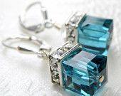 Teal Earrings, Blue Topaz Swarovski Crystal Cube, Modern Wedding Jewelry, Bridesmaid, Bridal, December Birthday Birthstone, Handmade Jewelry