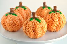 Pumpkin-Rice-Krispies-Treats  - Looks like these could be easily adapted to be allergy-friendly with use of safe margarine and marshmallows, and safe chocolate or other candy for the stem.