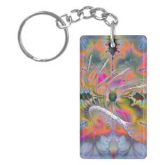 Swan Song Psychedelic Fractal Rectangular Acrylic Keychains