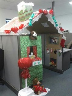 decorating a cubicle for christmas my christmas cubicle decorations complete w chimney and fireplace