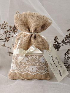 Lace Rustic Favor Bag Rustic Wedding Bag by 4LOVEPolkaDots, $1.70
