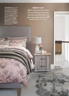 Bedroom in neutral paint color scheme with walls painted in Dulux Velvet Truffle.