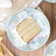 A simple recipe for a classic vanilla butter cake that is moist, rich and tender. Frosted with vanilla buttercream.