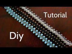 Beaded Bracelets Tutorial, Beaded Bracelet Patterns, Jewelry Patterns, Handmade Bracelets, Seed Bead Jewelry, Bead Jewellery, Beaded Jewelry, Diy Colar Choker, Jewelry Making Tutorials