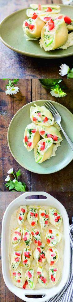 SPINACH RICOTTA STUFFED SHELLS - garlic, healthy, recipes, spinach, tomato, zucchini
