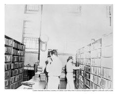 Inmates in the Alcatraz Prison library
