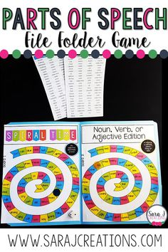 Using Printable File Folder Games for Learning Fun Parts Of Speech Activities, Part Of Speech Noun, Teacher Storage, Preschool Special Education, File Folder Games, Teaching First Grade, Learning Time, Literacy Skills, Preschool Printables