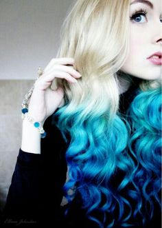 Blue hair, Blue Ombre, Blonde and Blue hair