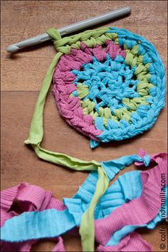 Recycled T-shirt Crochet Rug - Spring Cleaning Idea » Coffee and Vanilla