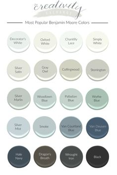 We've pulled together the best selling and most popular Benjamin Moore paint colors and highlighting homes painted in these beautiful colors. Find your perfect color from this list of some of the most dependable paint colors out there. Benjamin Moore Couleurs, Benjamin Moore Blue, Benjamin Moore Silver Satin, Benjamin Moore Paint Colours, Benjamin Moore Moonshine, Collingwood Benjamin Moore, Benjamin Moore Bedroom, Oyster Shell Benjamin Moore, Wall Colors