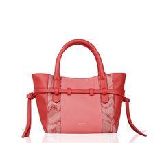 Petit Cabas Gisele Rouge kiss et Rose flamingo Vachette buffalo, cuir shiny et vachette silk