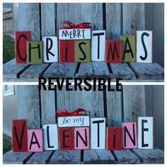 Valentine Christmas wood block set reversible seasonal decor gift snowman collector heart valentines day personalized sign on Etsy, $50.00