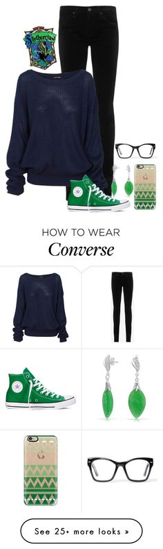 """Casual Slytherclaw"" by exocoffeelover on Polyvore featuring AG Adriano Goldschmied, Converse, Bling Jewelry, Casetify, Spitfire, women's clothing, women's fashion, women, female and woman"