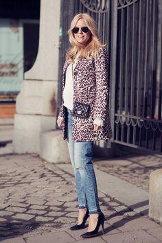 leopard coat, white top, jeans