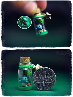 Miniature Pokemon Sculptures in a bottle