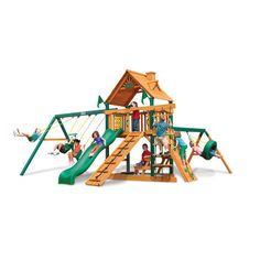 Frontier Swing Set with Wood Roof Canopy