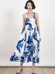 Shop Blue Floral Print Cut Out Back Sleeveless Maxi Dress from choies.com .Free shipping Worldwide.$12.9