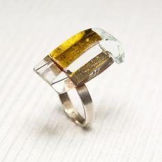 Glass sterling silver ring Prismes07 by belnavarro on Etsy, $89.00