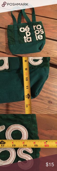 Aeropostale Kelly green tote Aeropostale brand Kelly green tote with tone on tone printed fabric  Large felt appliquéd letters See photos for details and measurements  Inside tag has a stain but no other problems (see photo)  Another one of the hoarders bags! Aeropostale Bags Totes