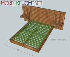 Build your own bed. More Like Home: Day 6 - Build a Simple Modern Bed Woodworking Jig Plans, Woodworking Shop, Wooden Pallet Beds, King Storage Bed, Diy Bed Frame, Bed Frames, Floating Bed, Bedroom Bed Design, Bedroom Ideas