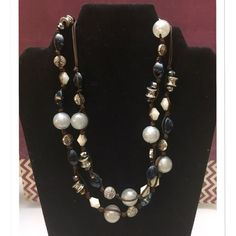 """""""Chambray"""" antiqued silver plated necklace Nylon cord glass acrylic beads 38""""-42"""" adjustable cord w/sliding knot Premier Designs Jewelry Necklaces"""