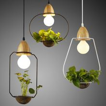 Modern Simple E27 Holder Wood Led Pendant Lights,3 Kinds Loft Wrought Iron Plant Pot Bar Restaurant Pendant Lamp Hanging Lamps(China)
