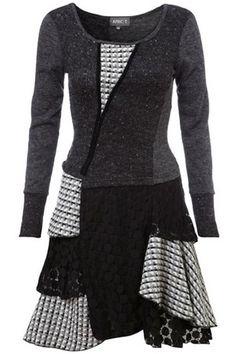 Light Grey Edwardian Patchwork Tunic Dress on Womens Clothing