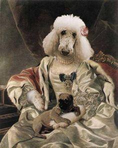 - Pet Portraits, Custom pet art by european artist Valerie Leonard /// It seems Duquesa de Alba, from here, Spain, jajajajajajajajaja Costume Chien, Dog Artist, Dog Artwork, Animal Heads, Dog Portraits, Pet Clothes, Beautiful Dogs, Animal Paintings, Illustration