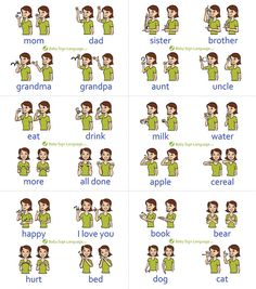 Baby Sign Language Chart (self-print version) The printable baby sign language chart helps you learn the basic signs so that you can in turn teach your baby. The free baby sign language chart is ma… Baby Sign Language Chart, Sign Language Alphabet, Learn Sign Language, American Sign Language, Sign Language For Toddlers, Teaching Baby Sign Language, Baby Language, Dog Sign Language, Sign Language Basics