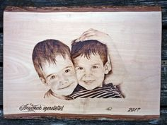 Two little boy pyrograhy