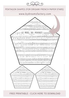 Pentagon shapes for origami french paper stars - free download -  www.bydreamsfactory.com